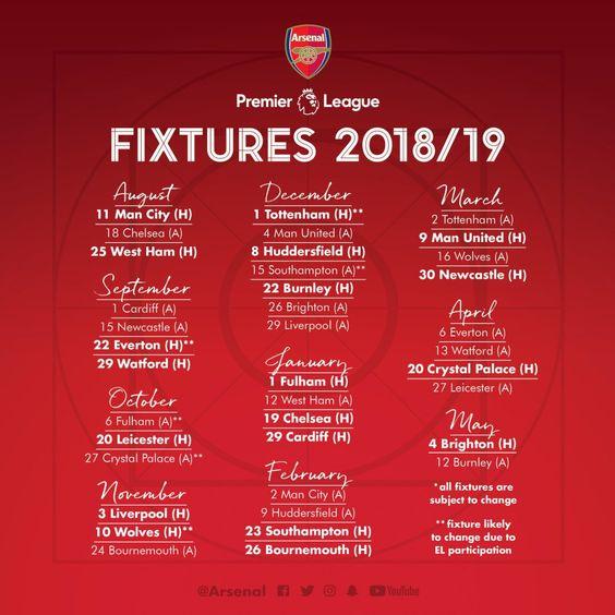 Arsenal Full 2018 19 Premier League Fixture Released Arsenal Premier League Premier League Fixtures Premier League