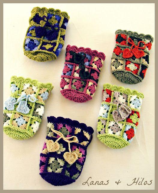 Crochet Gift Bags - Tutorial: Granny Bags, Crochet Granny, Crochet Bags, Crochet Gift Bags, Crochet Pouch, Granny Square, Crochet Gifts Bag, Crochet Idea