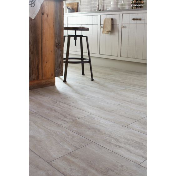Shop stainmaster 12 in x 24 in groutable oyster travertine white peel and stick travertine - Vinyl tile at lowes ...