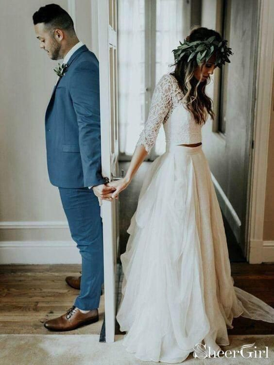 3 4 Sleeve Lace Ivory Chiffon Rustic Wedding Dresses Cheap Two Piece Wedding Dress Awd1266 Bridal Dresses Vintage Buy Wedding Dress Wedding Dresses Lace