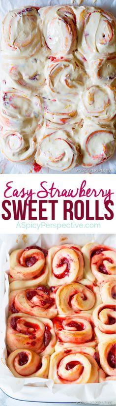 The Best Strawberry Sweet Rolls Recipe | http://ASpicyPerspective.com