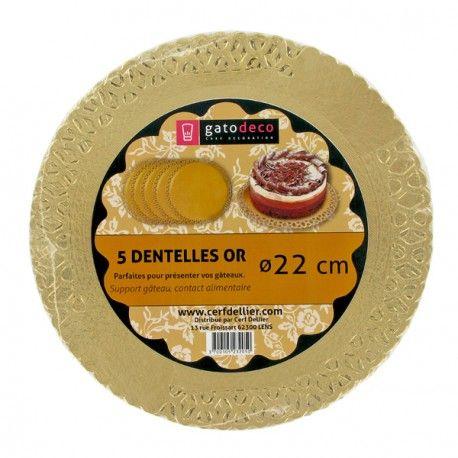 Dentelles or 22 cm Gatodéco (x5) pour présenter vos gâteaux et pâtisseries…
