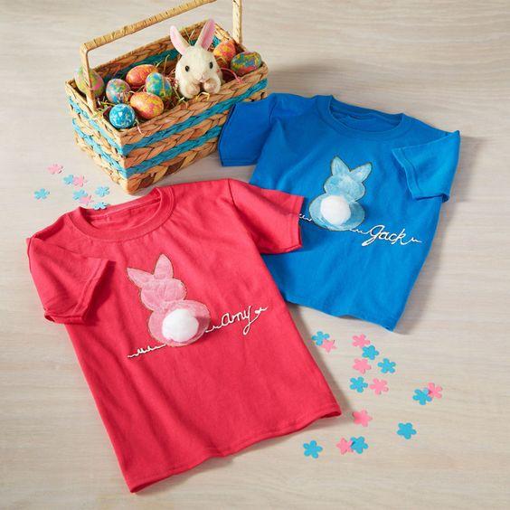 DIY Kids' Bunny T-Shirt Als Applikation mit Pompom bestimmt zauberhaft