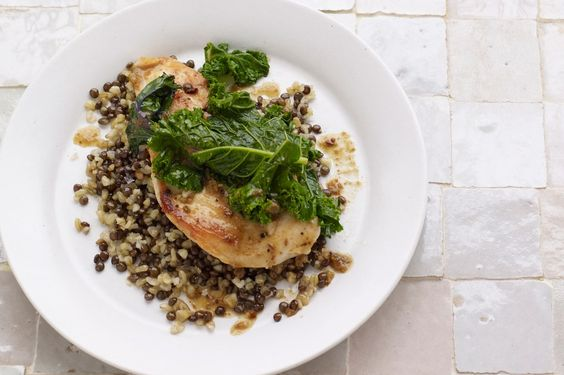 Chicken With Kale and Freekeh-Lentil Pilaf