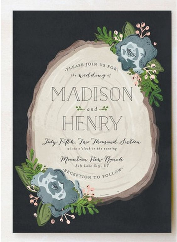 Wooded Botanical Invites. These rustic woodsy wedding invitations with wood slab design are oh so rustic chic. Available here.  http://www.confettidaydreams.com/botanical-wedding-invitations/: