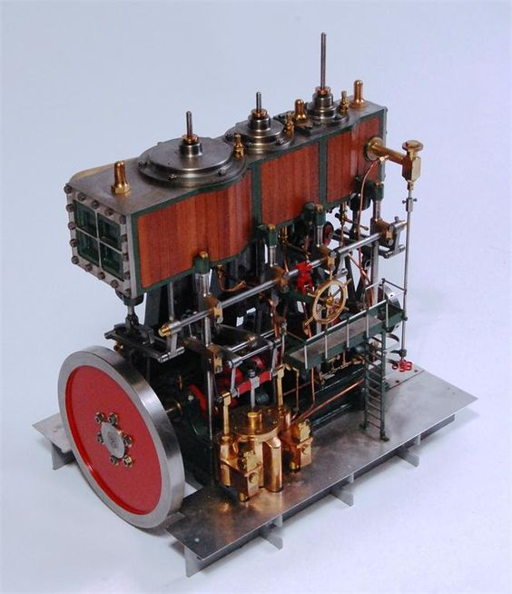 Triple expansion marine engine in the style of W Martin & Co., West Ham, London, 1:30 scale from the full size original