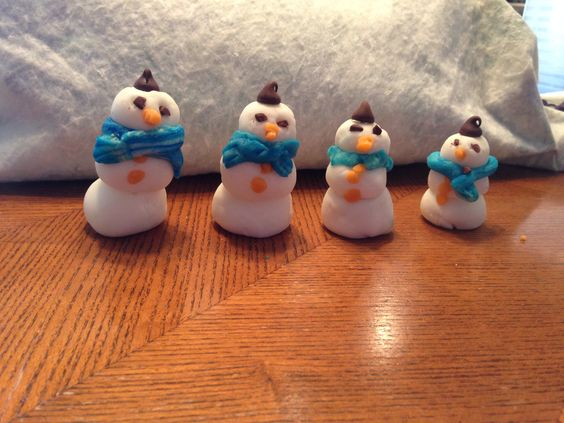 Snowmen made out of marzipan! So cute and festive :)