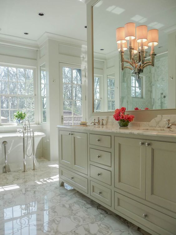 Waterworks Fixtures Custom Cabinetry Inlaid Marble Floors Tub From Re