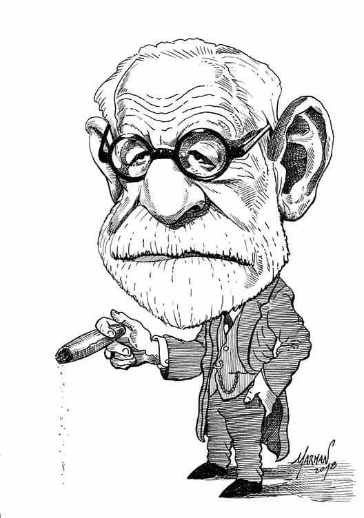 Caricatura De Sigmund Freud Tinta China Character Art Caricature Art