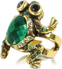 A large bright green emerald gives brilliance and color to the back of this prince-worthy frog ring. Sapphire eyes and tiny strass sparkle from a brass setting. One size only: approximately size 8 US. Slightly adjustable. Signature box included.