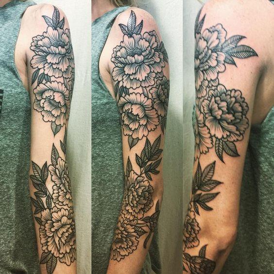 Blackwork Peony Floral Sleeve by Kyle Grover : Tattoos