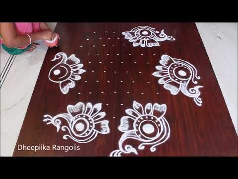 Easy And Simple Peacock Rangoli Design With 11 6 Dots Ii Flower Kolam Designs Ii Peacock Mugg Free Hand Rangoli Design Rangoli Designs Flower Rangoli With Dots