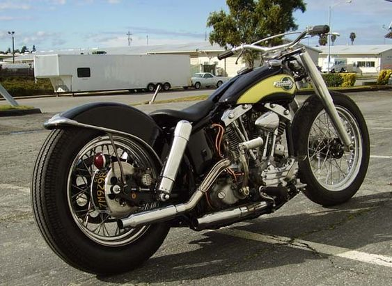 1959 Shovelhead FU swingarm custom by Timebandit, right rear