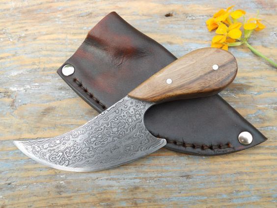 Damascus Steel Hunting and Skinning Knife with Leather Sheath - Free Shipping - English Walnut - Camping, Outdoors