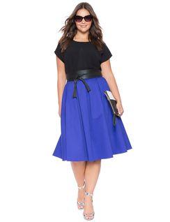 Plus Size Midi Skirt Blue Iris: