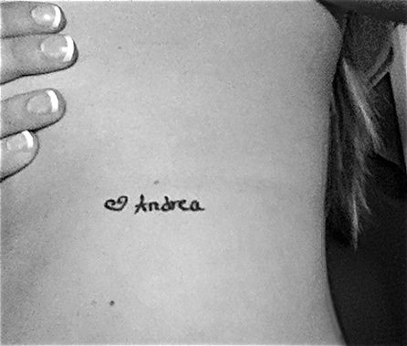 """""""My sister passed away on February 20th 2005 but before she died she left me a note, so on my 18th birthday I took the note and had her signature tattooed on my ribs. It's still my favorite of all my tattoos.""""  #tattoo #ink #sister"""