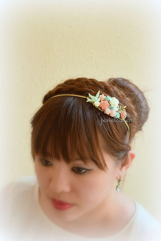 Mint Coral Pink Bridal Headband Tiara Floral Headpiece Flower Hairband Woodland Wedding Grecian Romantic Custom Bohemian Fascinator H1 WR