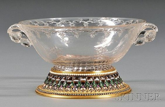 Description: Fine Yellow Gold, Cloisonne Enamel, and Stone-mounted Carved Rock Crystal Bowl, the bowl Mughal, c. 18th century
