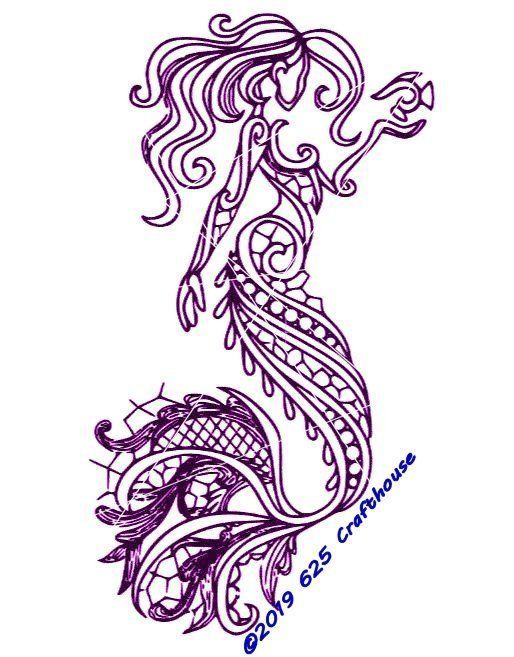 Mandala Mermaid Svg : mandala, mermaid, Mermaid, Mandala, Zentangle, Butterfly