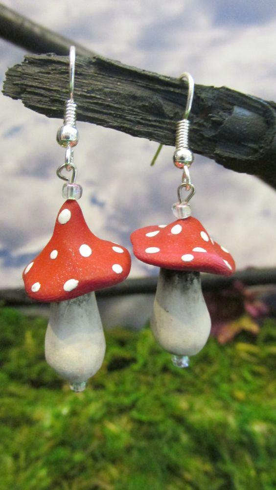 Magical Fairy Mushroom Earrings by dragonsdreamsdesigns on Etsy
