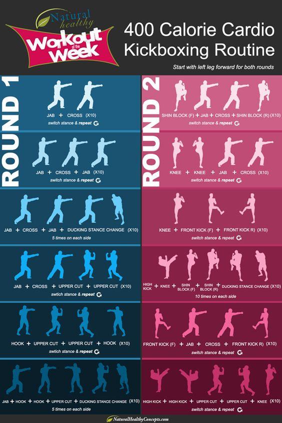 400 calorie cardio kickboxing routine: