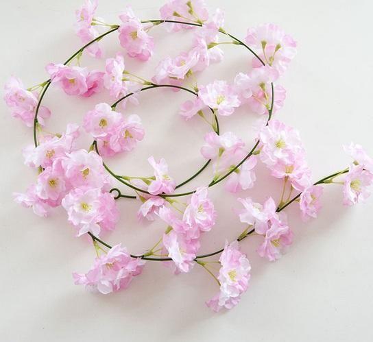 46 Artificial Cherry Blossom Hanging Vine Silk Flowers Garland Fake Plants Leaf For Home Wedding Decor Artificial Silk Flowers Hanging Garland Hanging Vines