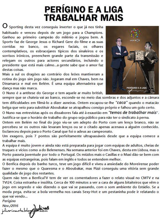 JULIUS   RIMANTE  NEWS: #PERÍGINO E A LIGA NOS