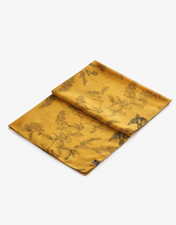 Wensley Antique Gold Floral Scarf , Size One Size   Joules UK