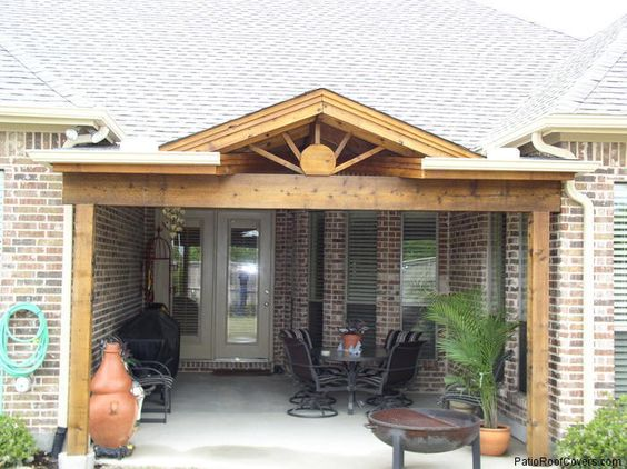 Patio roof u shaped houses and patio on pinterest for Porch design for terrace house