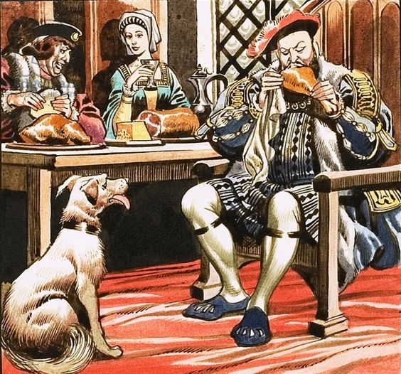 King Henry VIII eating, Embleton, Ron (1930-88) / Private Collection / © Look and Learn /
