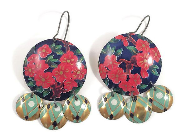 Recycled Tin Earrings, Gypsy Chandelier Style, Cherry Blossom pattern, by Tin Moon Jewelryworks on Etsy.  $40.
