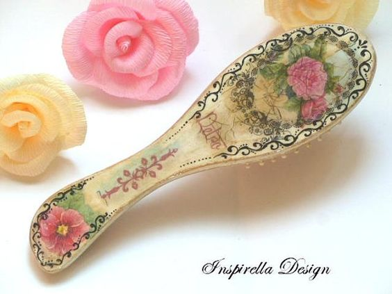 Decoupaged Wooden Hairbrush Hand Painted Hair by InspirellaDesign