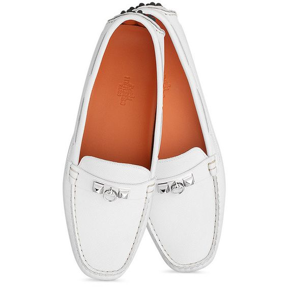 Hermès Irving Moccasin (6.335 HRK) ❤ liked on Polyvore featuring shoes, loafers, studded shoes, moccasin shoes, driving moccasins, mocasin shoes and moccasin style shoes