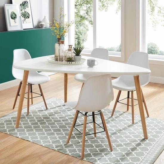 Benedikt Table A Manger Triangulaire 6 A 8 Personnes Scandinave Blanc Laque Satine L160xl120 Cm Table A Manger Triangulaire Table A Manger Meuble Salle A Manger