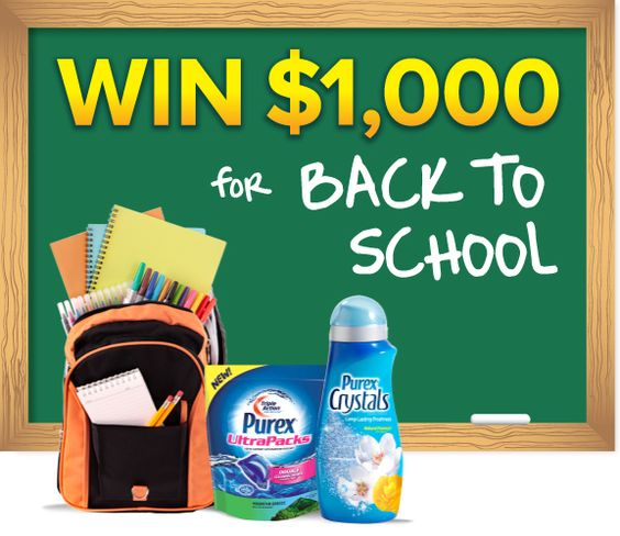 """*THIS SWEEPSTAKES HAS ENDED* Repin if you want to WIN 1,000 bucks in the Purex """"Back to School"""" #giveaway!"""