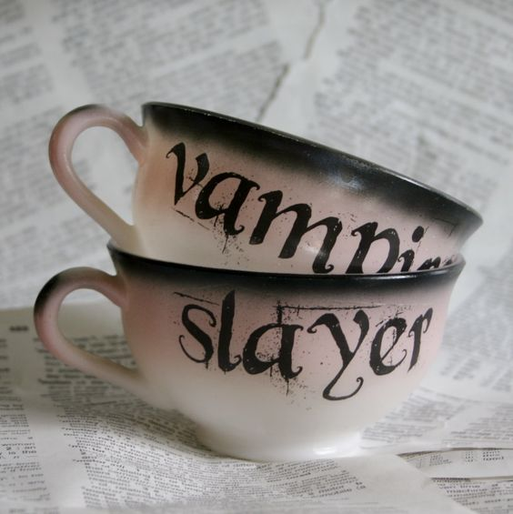Vampire Slayer pink and black Teacup Set. $32.00, via Etsy.