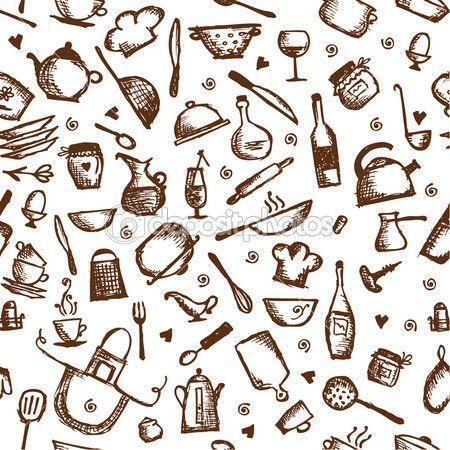 Desenho de utens lios de cozinha padr o sem emenda for Utensilios de cocina fondo