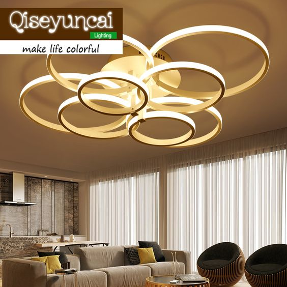 Qiseyuncai Post Modern Multiple Ring Acrylic Material Personality Light Dome Light Brief Originality A Living Room Led Lamps With Images Ceiling Lights Dome Lighting Light