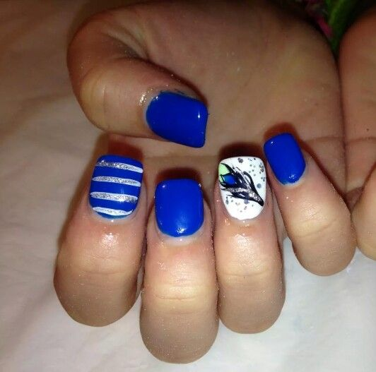 Blue nail designs feather design and nail salons on pinterest for Acrylic nails salon