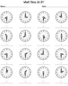 Worksheets Time To The Half Hour Worksheets the ojays telling time and worksheets on pinterest half hour printable treats