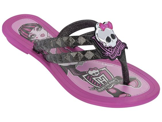 Chinelo Infantil Monster High Dark Fashion - Grendene - 21059 Rosa/Preto/Prata