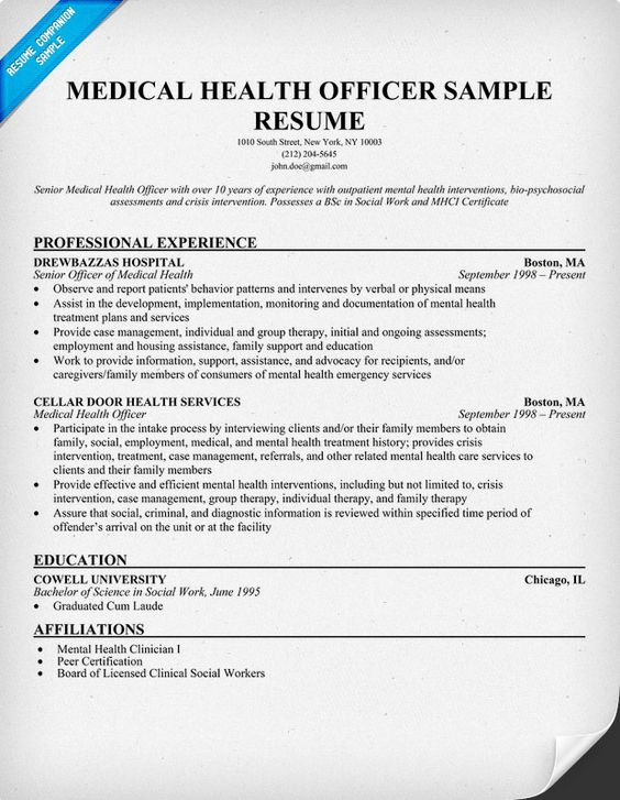 Medical Health Officer Resume Sample (Http://Resumecompanion.Com