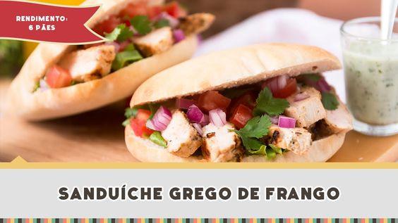 Lanche/Salgado - Sanduíche Grego de Frango com Pão Pita