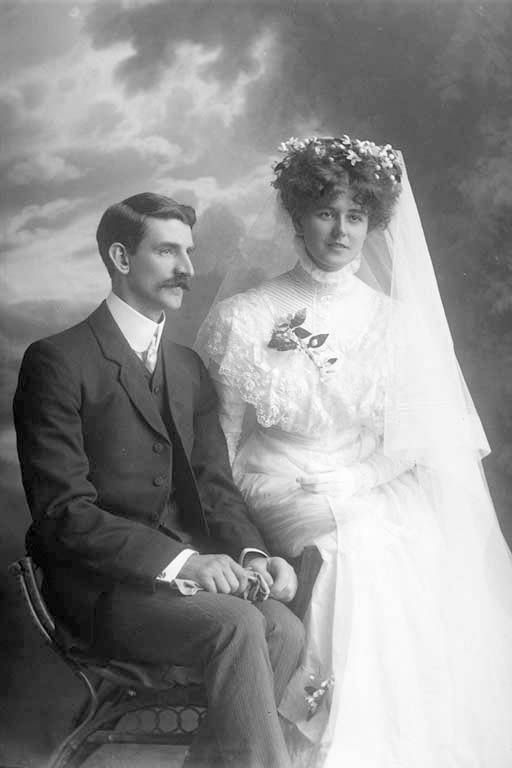 Wedding portrait of Mr and Mrs Price. 1909