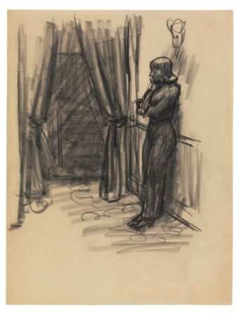 Edward Hopper (1882–1967), Study for New York Movie, 1938 or 1939. Fabricated chalk on paper, 10 7/8 × 8 3/8 in (27.6 × 21.3 cm). Whitney Museum of American Art, New York; Josephine N. Hopper Bequest 70.101. © Heirs of Josephine N. Hopper, licensed by the Whitney Museum of American Art. Digital image © Whitney Museum of American Art