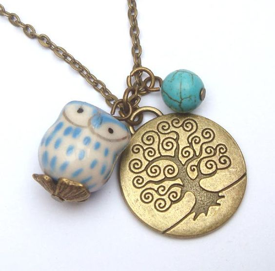 Antiqued Brass Tree Turquoise Porcelain Owl by gemandmetal on Etsy, $12.99