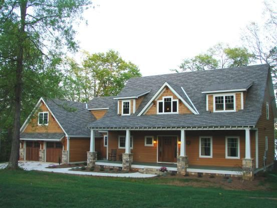 timber frame home in south carolina, natural-finish wood siding