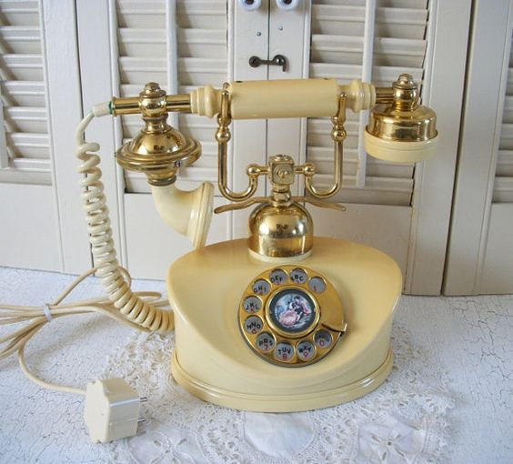 Courting Couple French Style Phone Rotary Telephone Model: Duchess Serial No. 29921 Made in Japan 1971