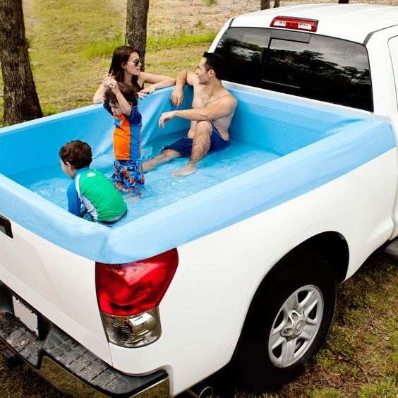 Say goodbye to tarps and bungee cords and say hello to the Pick-up Pool, the ultimate truck bed swimming pool. It is the perfect party accessory and a great way to cool off, anywhere.