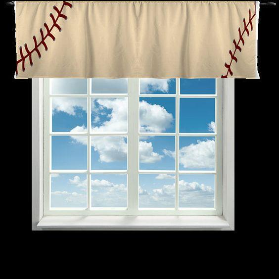 Custom Window Curtain or Valance Stitched Baseball by redbeauty